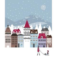 Winter city vector