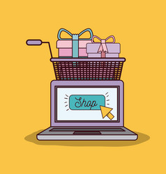 yellow background with laptop computer and vector image