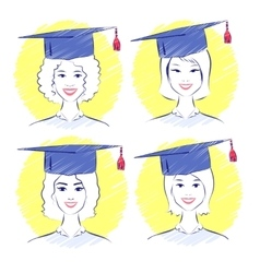 Young women wearing graduation cap vector