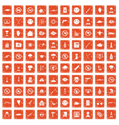 100 tension icons set grunge orange vector