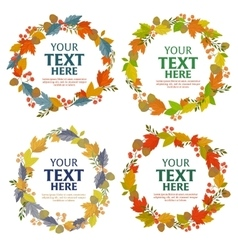 Floral wreath of autumn leaves vector