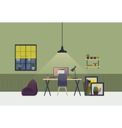 Workspace spacious room interior in evening vector