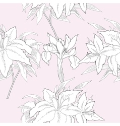 Seamless pattern black and white iris and lilies vector image