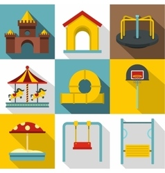 Baby swing icons set flat style vector image