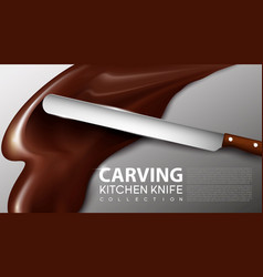 realistic carving kitchen knife concept vector image