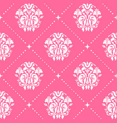 Vintage pattern baroque style in pink color vector