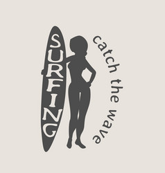 Surfing logo icon or symbol with silhouette of vector