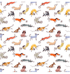 hand drawn doodle cute dogs seamless pattern with vector image