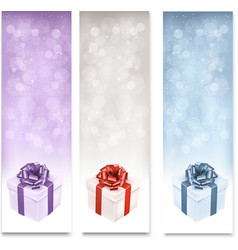 Holiday banners with colorful gift boxes vector image
