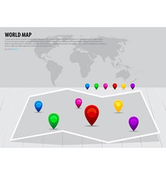 Map pointers and world map vector