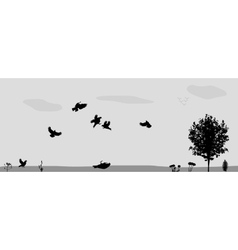 Birds fly in nature vector