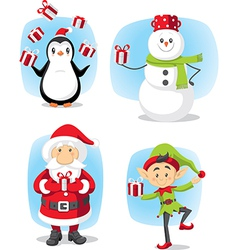 Christmas characters set cartoon vector