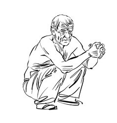 Hand drawn of an old squatting man black and white vector