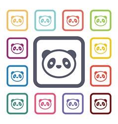 Panda flat icons set vector