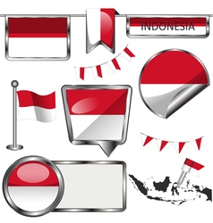Glossy icons with indonesian flag vector
