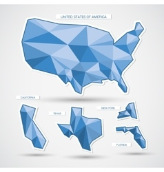 Geometric blue usa map and states vector