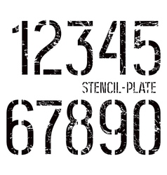 Stencil plate numbers in military style vector image