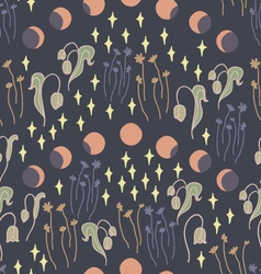 Night garden with stars seamless pattern vector