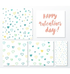 Valentines day herts patterns set with lettering vector