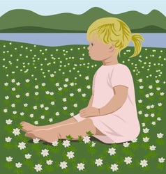 Girl with wood anemones vector