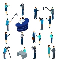 Journalist work isometric icons set vector