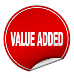 Value added round red sticker isolated on white vector