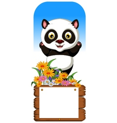 Panda cartoon with blank board vector