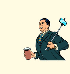 Asian businessman with a selfie stick and coffee vector