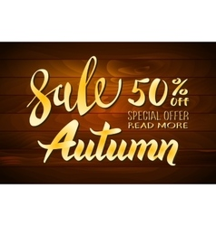 Autumn sale wooden background with colorful vector image