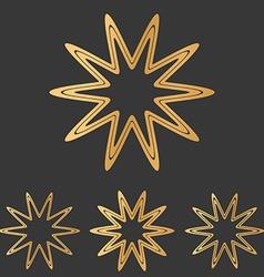 Bronze line star logo design set vector