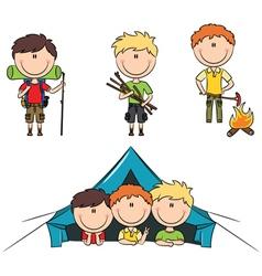 Camping boys vector