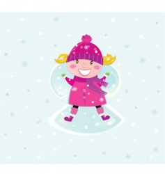 Christmas girl in pink costume vector image