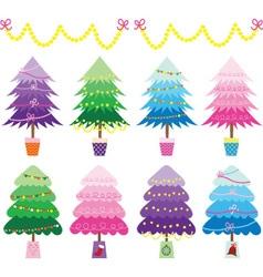 Colorful christmas tree set vector