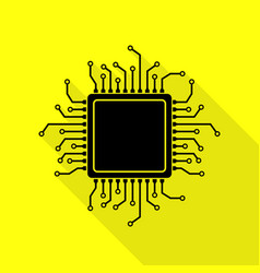 Cpu microprocessor black icon with vector