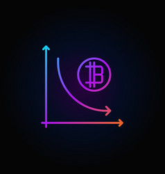 Cryptocurrency decline graph colorful icon vector