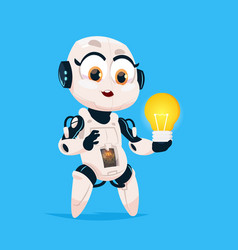 cute robot hold light bulb robotic girl isolated vector image vector image