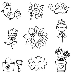 Doodle of spring set flower cloud vector