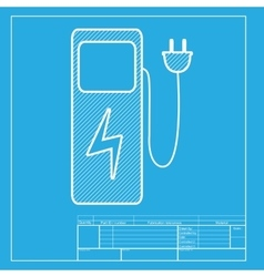 Electric car charging station sign white section vector