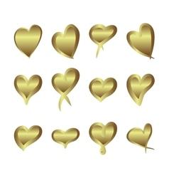 Gold gradient foil hearts set Valentine day love vector image