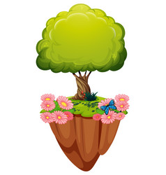 Green tree and pink flowers vector