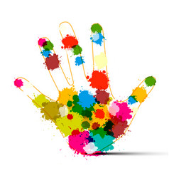 Human hand with colorful splashes art creation vector