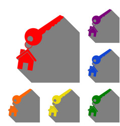 Key with keychain as an house sign set of red vector