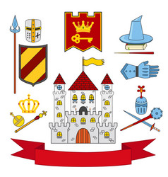 Kingdom set - castle lance shield knights helmets vector