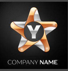 Letter y logo symbol in the colorful star on black vector