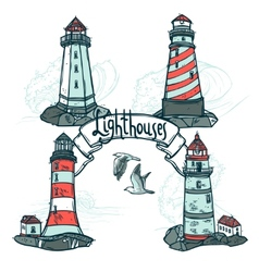 Lighthouse sketch set vector