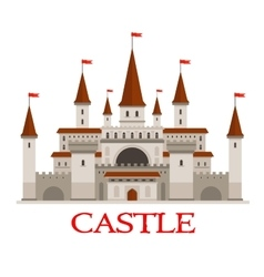 Medieval castle or fortress with red flags icon vector