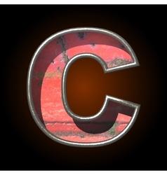 Old metal letter c vector