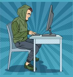 Pop art hacker stealing information from computer vector