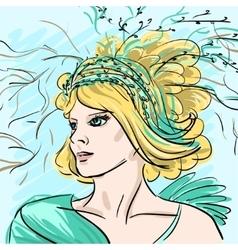 Portrait of beautiful girl woman hand-drawn vector image