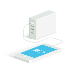 Powerbank charging a white smartphone isometric vector
